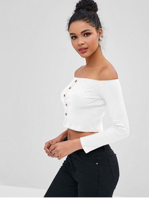 unique Ribbed Off The Shoulder Top - WHITE S Mobile