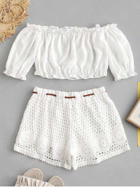 women's ZAFUL Off Shoulder Top and Crochet Shorts Set - WHITE ONE SIZE Mobile