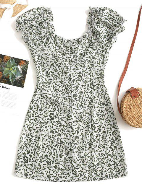 sale Leaves Print Button Up Mini Dress - GREEN S Mobile