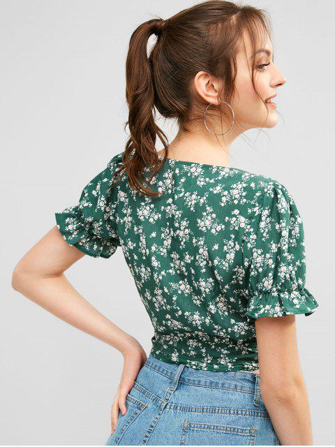 fancy ZAFUL Tiny Floral Wrap Top - GREEN L Mobile