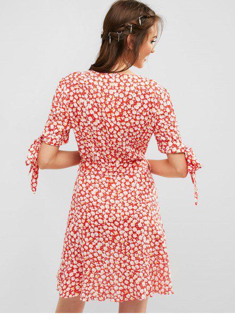 ZAFUL Robe Superposée Fleurie Ceinturée à Volants - Rouge M Mobile