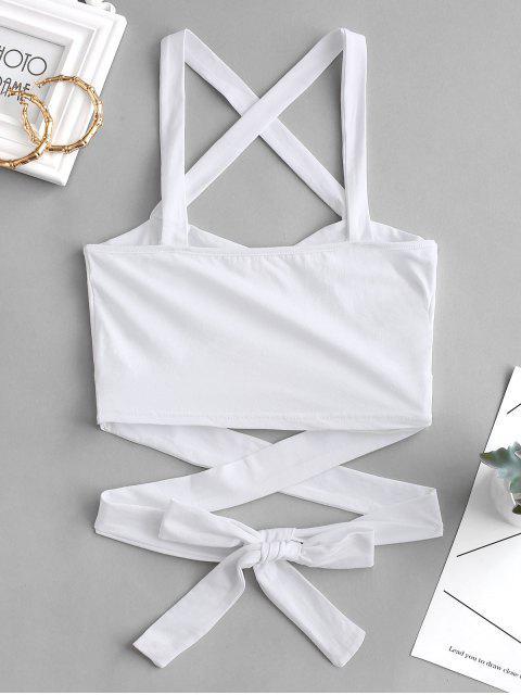 fancy Crisscross Tie Crop Top - WHITE S Mobile
