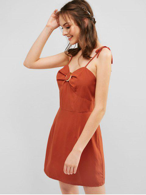 lady ZAFUL Tie Ring Cami Dress - CHESTNUT RED S Mobile