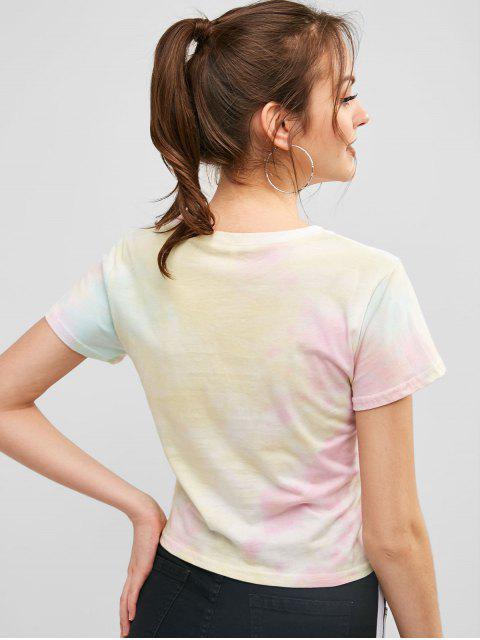 women Short Sleeve Tie Dye Graphic Tee - GOLDENROD L Mobile