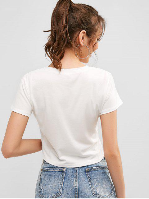 Camiseta de manga corta con estampado de fresa - Blanco L Mobile
