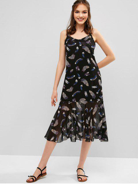 Vestido de tiras cruzadas con estampado de plumas de Criss Cross - Negro L Mobile