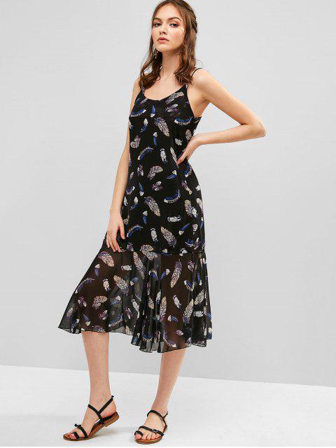 Vestido de tiras cruzadas con estampado de plumas de Criss Cross - Negro 2XL Mobile