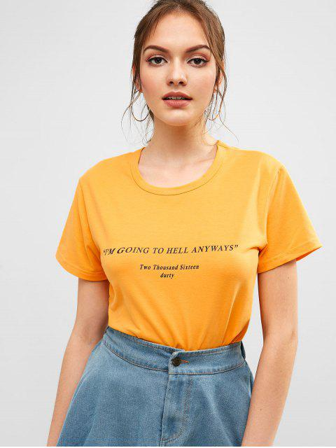 outfits Round Neck Casual Letter Graphic Tee - SUN YELLOW M Mobile