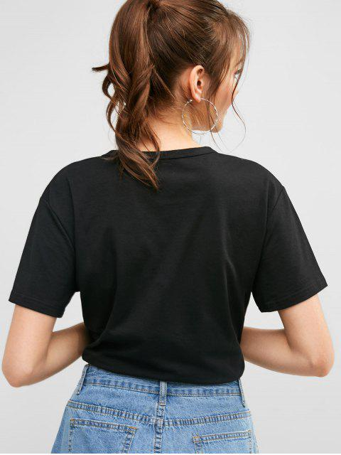 latest How You Doin Graphic Casual Tee - BLACK L Mobile