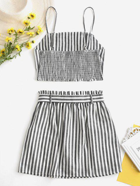 outfits ZAFUL Smocked Striped Top and Belted Skirt Set - BLACK L Mobile
