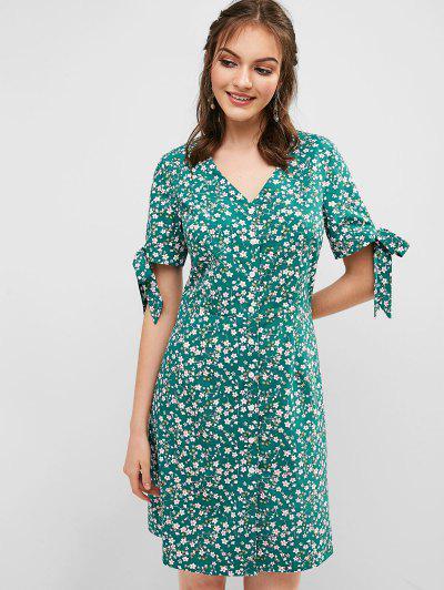 cc73755fed3 Floral Tie Cuffs Tea Dress - Macaw Blue Green M ...