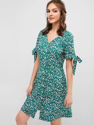 7a9518e54aa ... Floral Tie Cuffs Tea Dress - Macaw Blue Green M