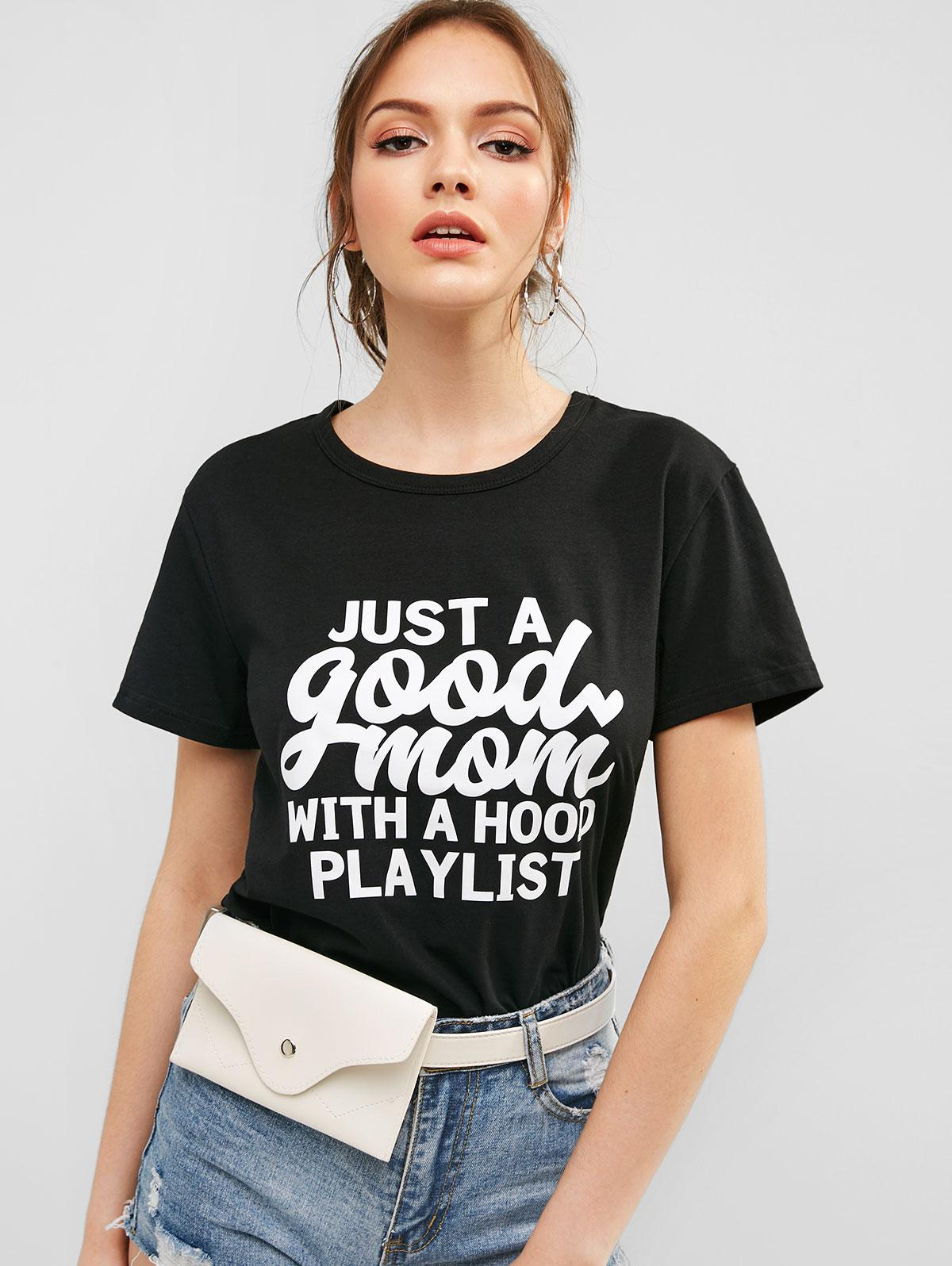 Short Sleeve Letter Graphic Casual Tee, Black