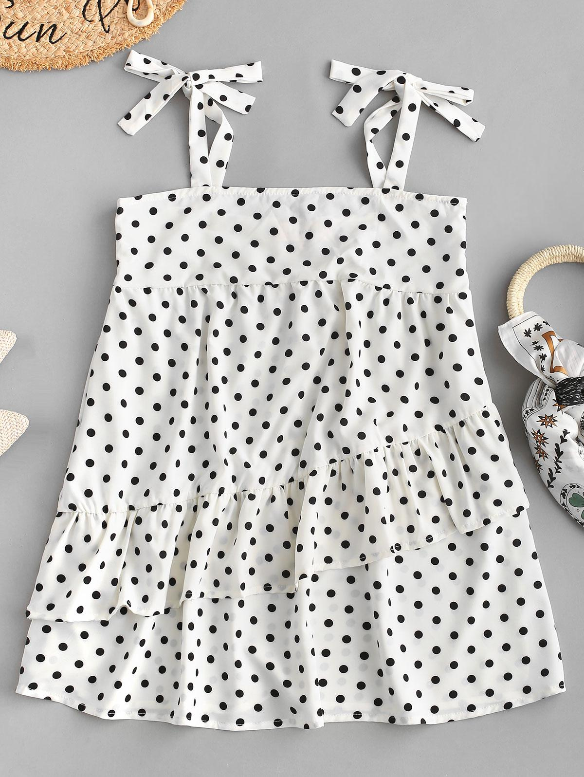 Tied Straps Polka Dot Layered Mini Dress, White