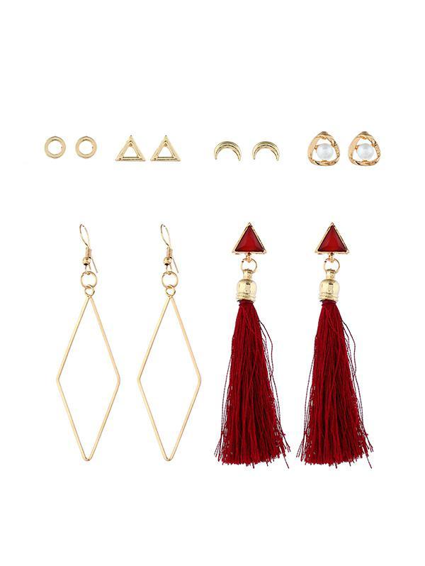 6 Piece Tassels Drop Stud Earrings Set