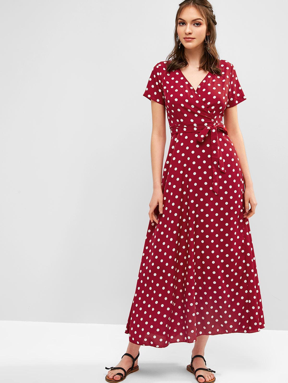 48 Off 2020 Slit Belted Surplice Polka Dot Maxi Dress In Red Zaful
