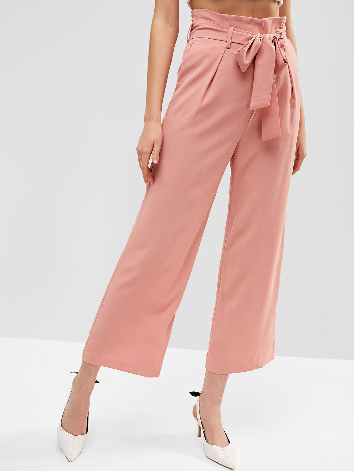 ZAFUL Pockets Belted High Waisted Wide Leg Pants, Rose