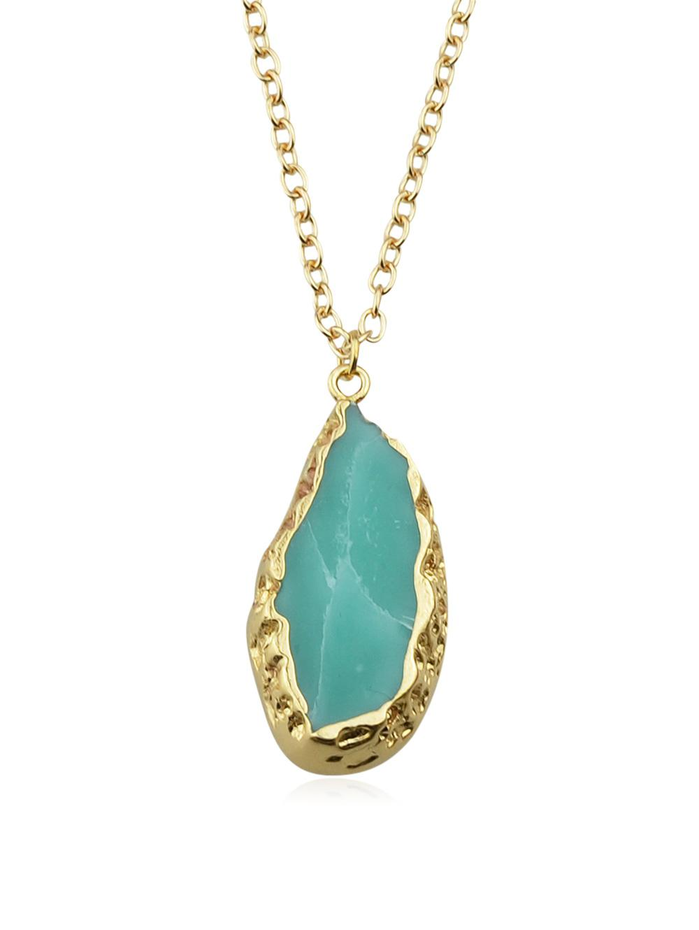 Green Natural Stone Pendant Chain Necklace, Macaw blue green