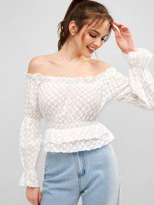 Blusa bordada con hombros descubiertos
