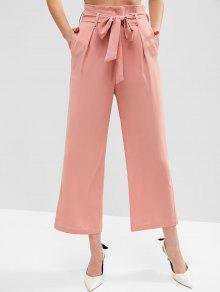 e4901d0756b20 ZAFUL - Pantalon large à taille haute avec ceinture et poches