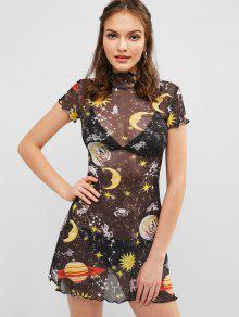 فستان الشمس والقمر الشفاف - أسود M