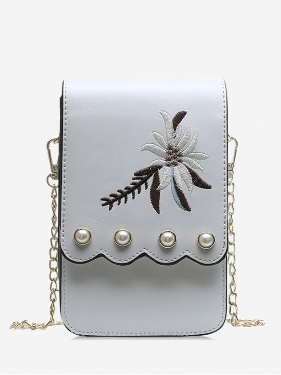 chic Embroidery Cover Mini Coin Purse - WHITE