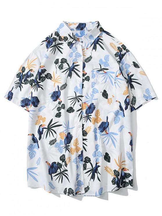 Kurzärmliges Hemd mit Vogel-Pflanzenmuster - Weiß 2XL