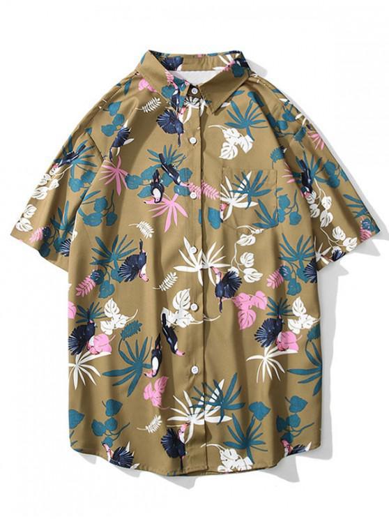 Kurzärmliges Hemd mit Vogel-Pflanzenmuster - Braunes Kamel  L