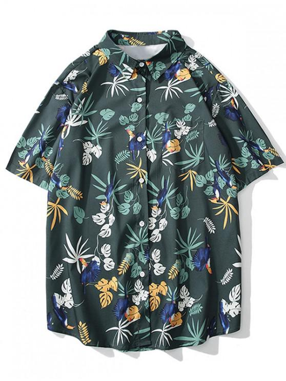 women Bird Plant Print Short Sleeves Shirt - GRAYISH TURQUOISE XL