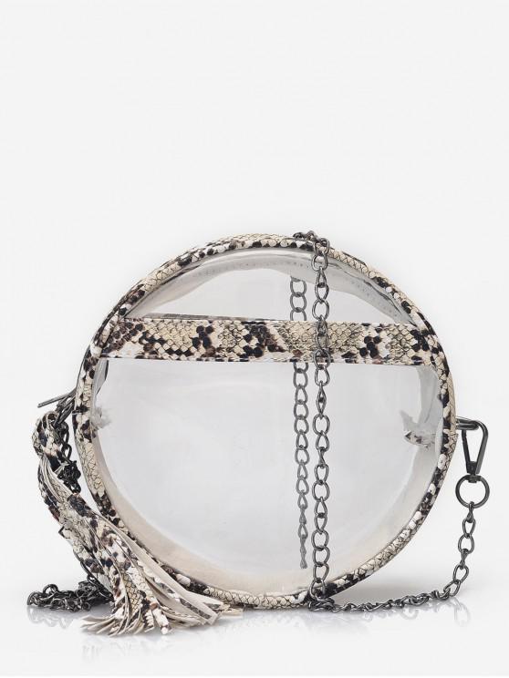 women's Transparent Snakeskin Crossbody Bag - LIGHT KHAKI