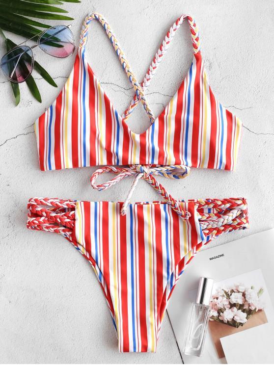 women's ZAFUL Colorful Striped Braided Criss Cross Bikini Set - MULTI-A S