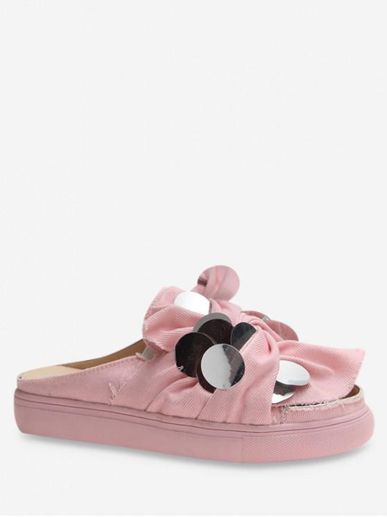 new Flat Medium Heel Paillette Design Sandals - HOT PINK EU 35