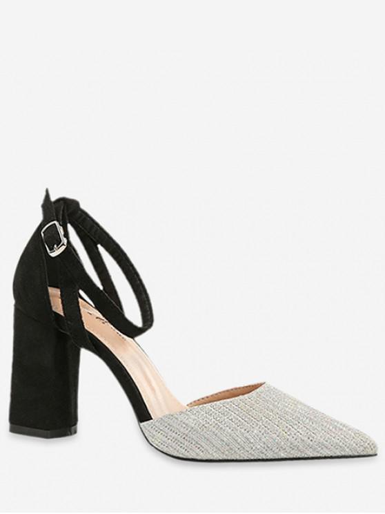 unique Ankle Strap Pointed Toe Sandals - SILVER EU 35
