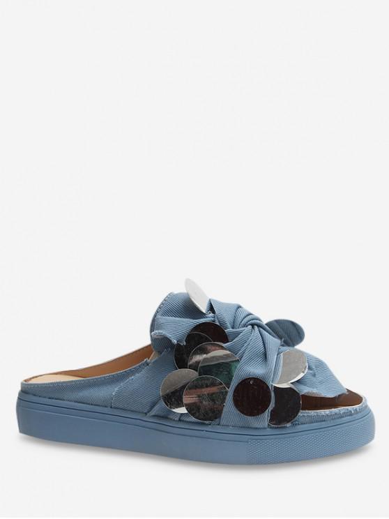shop Flat Medium Heel Paillette Design Sandals - CRYSTAL BLUE EU 37