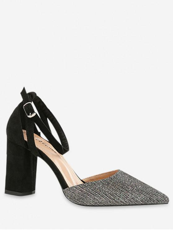 online Ankle Strap Pointed Toe Sandals - GRAY EU 36
