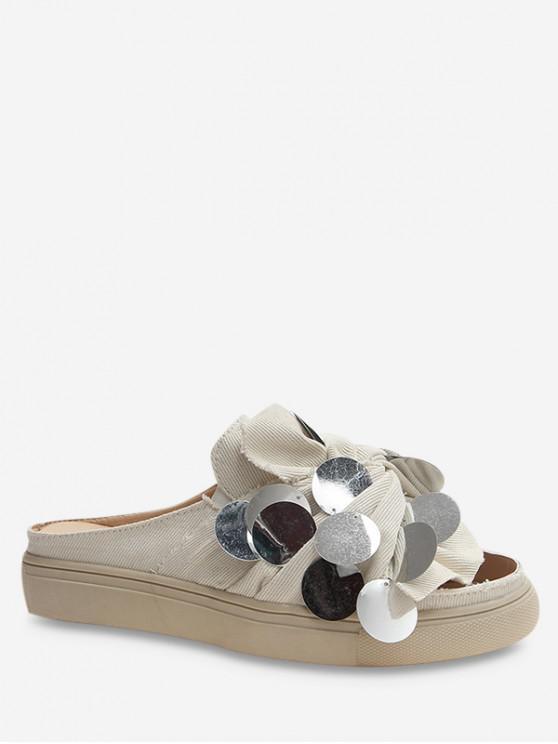 fashion Flat Medium Heel Paillette Design Sandals - BEIGE EU 38