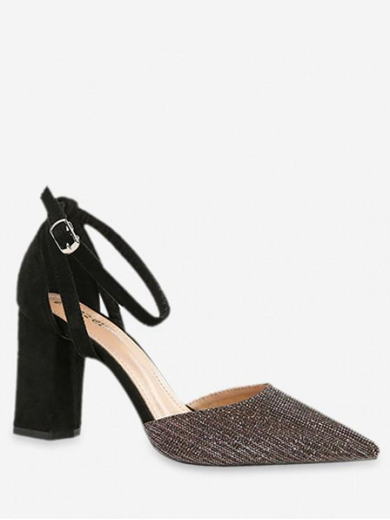 chic Ankle Strap Pointed Toe Sandals - BLACK EU 39