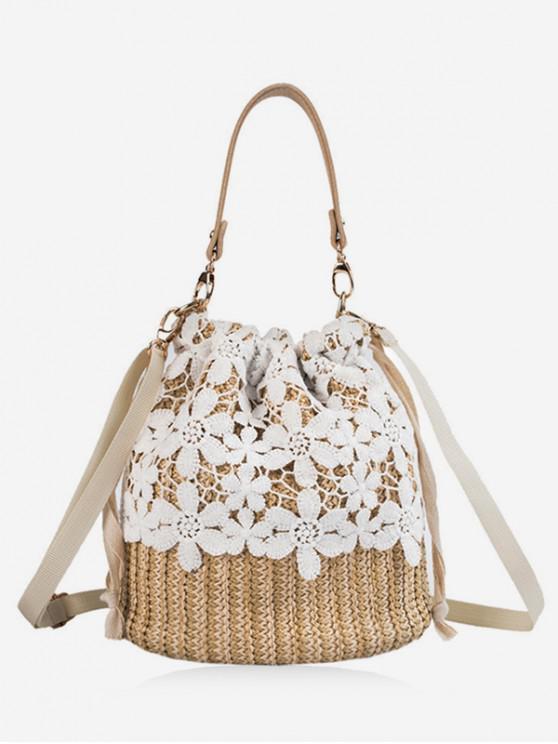 unique Lace Decor Straw Bucket Bag - LIGHT KHAKI