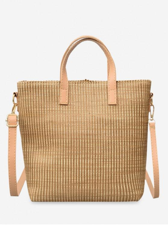 buy Straw Big Square Handbag - LIGHT KHAKI