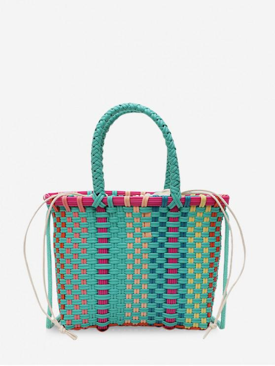 women Woven Basket Handbag - MEDIUM TURQUOISE