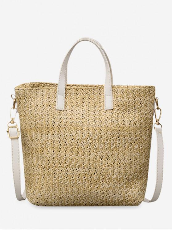 women's Straw Big Square Handbag - BEIGE