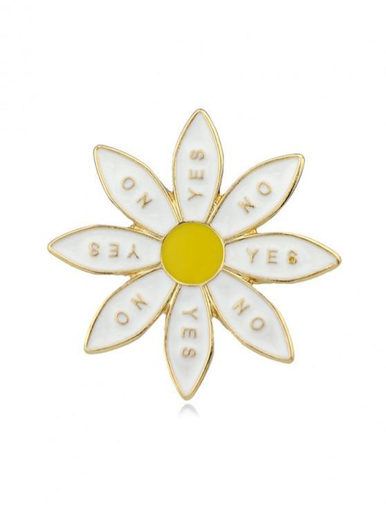 best Flower Shape Letter Glazed Brooch - GOLD