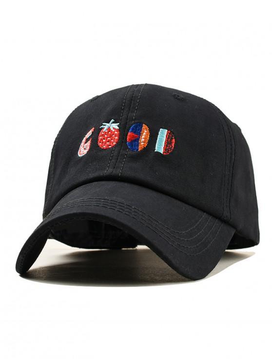 hot Embroidery Fruit Pattern Baseball Cap - BLACK