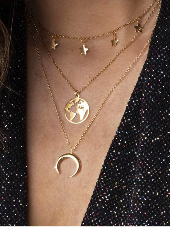 affordable Star Moon Map Layered Necklace - GOLD