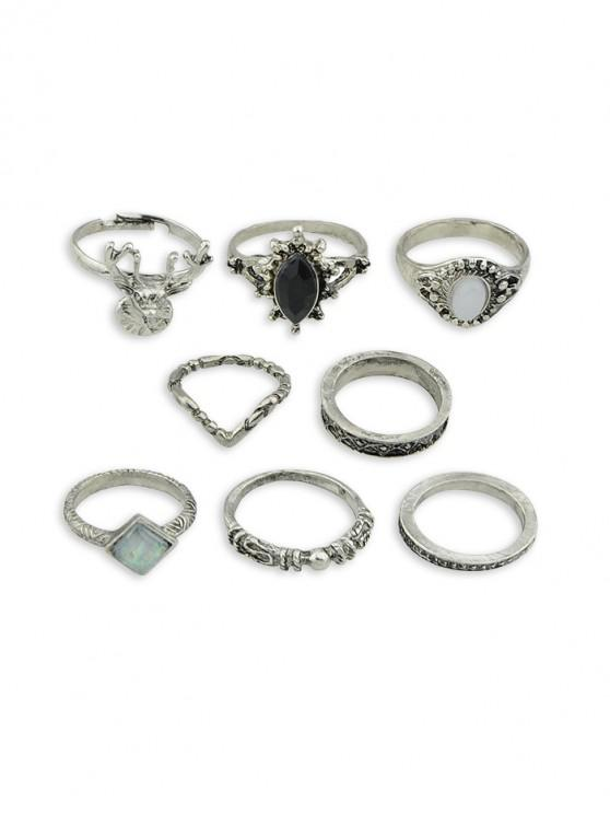 women 8Pcs Retro Faux Gem Carved Ring Set - SILVER