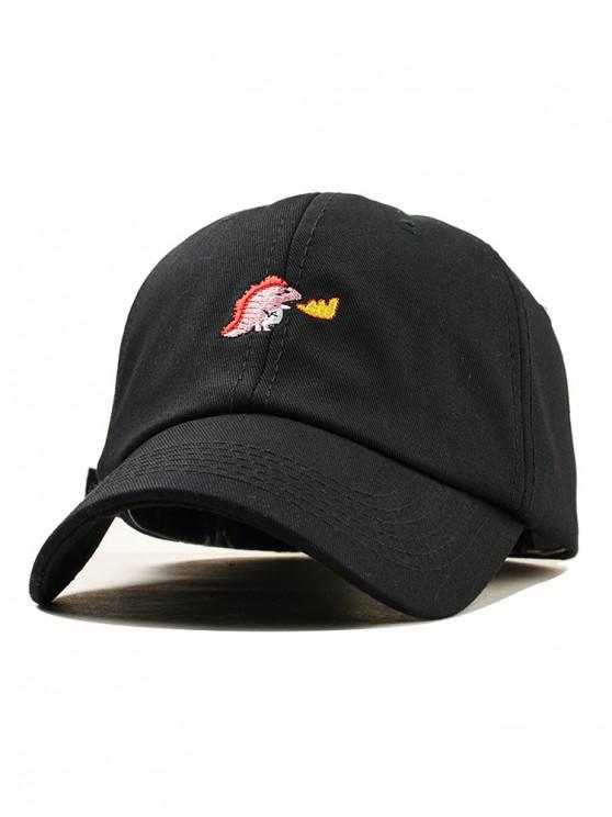 women's Embroidered Dinosaur Baseball Cap - BLACK