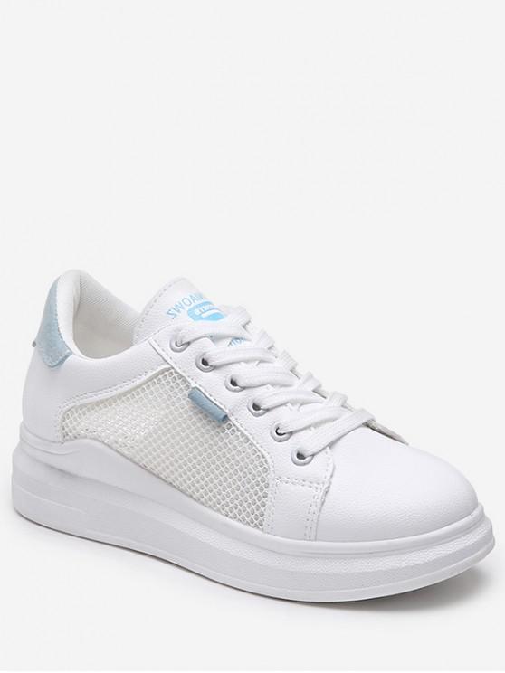trendy Lace-up Breathable Mesh Trim Sport Shoes - SKY BLUE EU 36