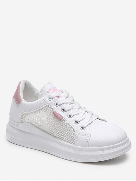 fashion Lace-up Breathable Mesh Trim Sport Shoes - PINK EU 37