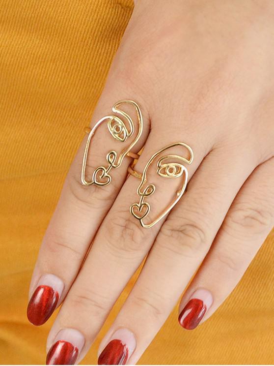 buy 2Pcs Abstract Face Heart Ring Set - GOLD