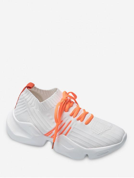 women Two Tone Outdoor Knit Sneakers - WHITE EU 39